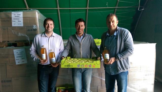 De g. à dr. : Arnaud REDHEUIL (PDG de SOJUFEL), François MESTRE (Co-Gérant de MESFRUITS) et Nicolas CABOT (Directeur du chantier d'insertion Imagine 84).